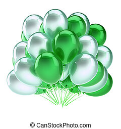 party balloons bunch white green colorful