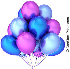Party balloons colored blue purple