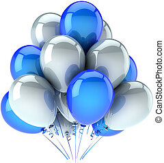 Party balloons colored blue white