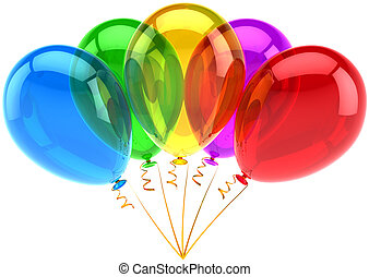 Party balloons five colors classic