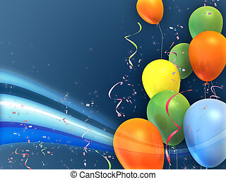 Happy and colorful party composition. Suitable for cards, invitations and backgrounds. Digital illustration.