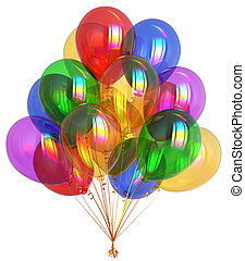 Party balloons happy birthday decoration colorful translucent