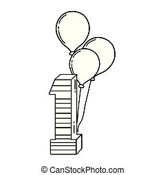 party balloons helium with candle number one vector illustration design