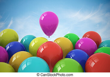 Party balloons on sky background - Party balloons on blue...