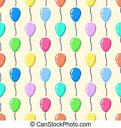 Party balloons pattern seamless . Cartoon balloons celebation on yellow background Flat design Vector