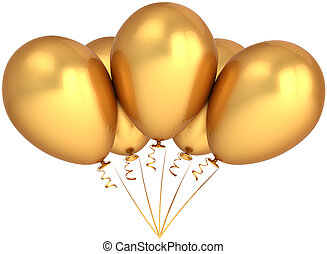 Party balloons total golden - Bunch of five golden party...