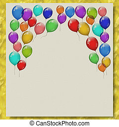 Party balloons writing paper marble texture background