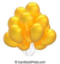 party balloons yellow colorful shiny