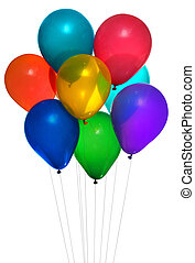eight colorful helium party balloons on white background