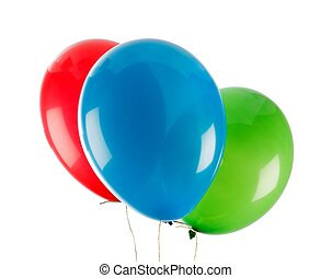 Party baloons - Three colorful party baloons over white...