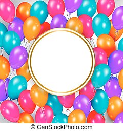 Party banner with balloons and space for text