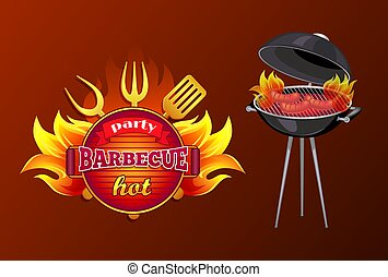 Party BBQ Barbecue Hot Poster Vector Illustration
