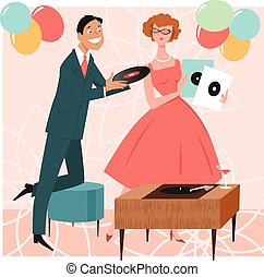 Party beat - 1950s cocktail party guests choosing music ...