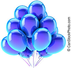 Balloons party happy birthday blue cyan decoration. Joy fun happiness abstract. Holiday anniversary retirement celebration greeting card concept. Detailed 3d render. Isolated on white background