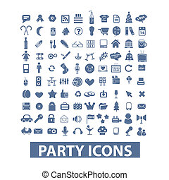 party, birthday, celebration icons set, vector