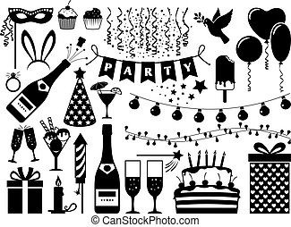 Party black icons set