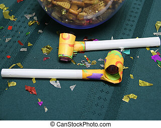 Party blowers close up