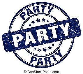 party blue grunge round vintage rubber stamp