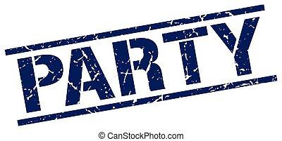 party blue grunge square vintage rubber stamp