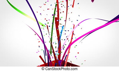 A gift box exploding open with confetti flying out.