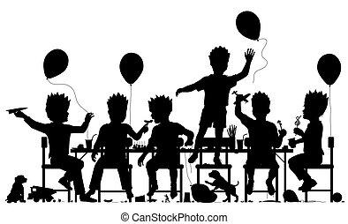 Party boys - Editable vector silhouette of young boys having...