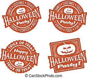 party, briefmarken, halloween, glücklich