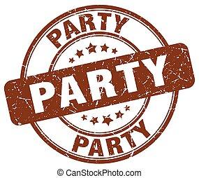 party brown grunge round vintage rubber stamp