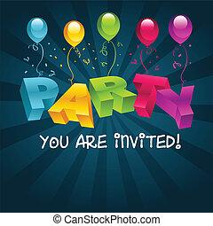 party, bunte, karte, einladung