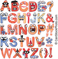 Party Caps - Colorful, funny alphabet set with party theme