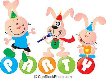 illustration of lovely rabbit having a party, white background