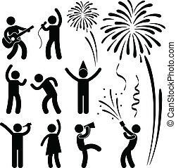 Party Celebration Event Festival - A set of people pictogram...