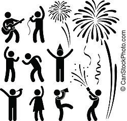 Party Celebration Event Festival - A set of people pictogram...