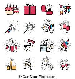 Party celebration fireworks ehgagement icons set