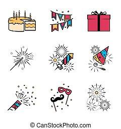 Party celebration fireworks icons set