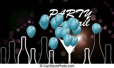 Party celebration. Glasses with alcohol. Birthday party. -...