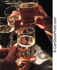 party Champagne glasses clinking celebrate