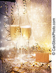party, champagner, Brille