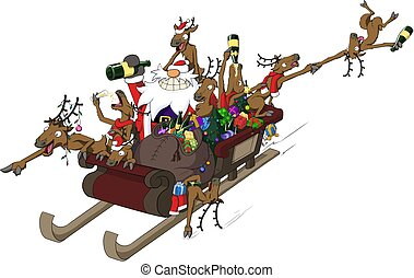 Christmas party celebration humorous cartoon, reindeer sleigh ride