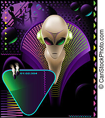 party club invitation flyer - with cool Alien discjockey and...