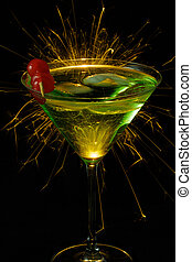Party Cocktail - green cocktail isolated against black