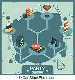 Party color isometric concept icons set