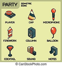 Party color outline isometric icons set