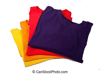 party-colored t-shirts - yellow, orange, red and violet...