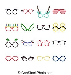 Party colorful sunglasses icon set in flat style isolated on white background. Design templates. EPS10.