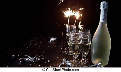 Party composition image. Glasses filled with champagne...