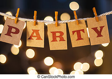 Party Concept Clipped Cards and Lights - The word PARTY...