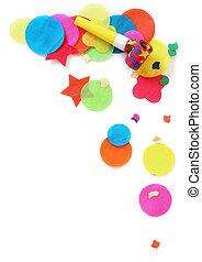 Party Confetti - Confetti and noisemaker over white