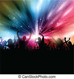 Party crowd background - Silhouette of a party crowd on an...