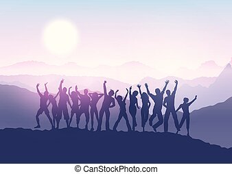 party crowd in sunset landscape 1412