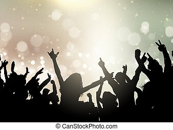 party crowd on bokeh lights background 2107